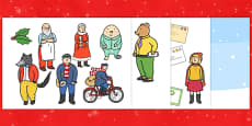 Story Cut Outs to Support Teaching on The Jolly Christmas Postman