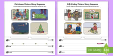 Gift Giving Picture Story Sequencing Differentiated Activity Sheets
