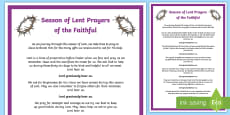 Season of Lent Prayers of the Faithful Print-Out