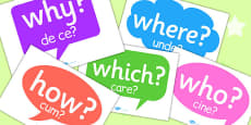 Question Words on Speech Bubbles Romanian Translation