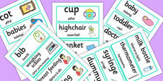 Baby Clinic Word Cards Romanian Translation
