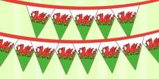 Wales Tourist Information Role Play Welsh Flag Bunting