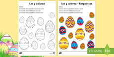 Easter Egg Read and Colour Activity Sheet Spanish