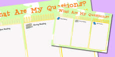 What Are My Questions Reading Writing Notice Board