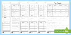 Train Timetable Differentiated Activity Sheets