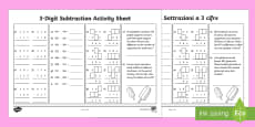 3-Digit Number Subtraction Activity Sheet English/Italian