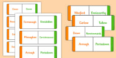 Towns and Cities of Ireland Matching Game and Teacher Instructions