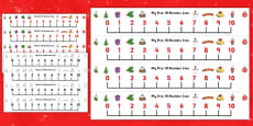 0-10 Christmas Number Line