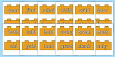 Year 2 Common Exception Words on Bricks