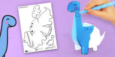 3D Diplodocus Paper Model Activity