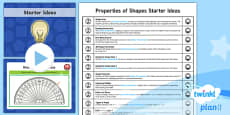 PlanIt Y6 - Properties of Shape: Starter Ideas Pack