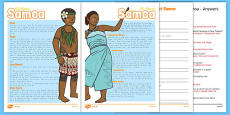 Samoa Differentiated Comprehension Activity Sheets