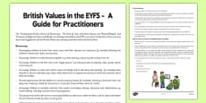 British Values in the EYFS: A Guide for Practitioners