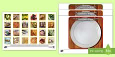 Gesunde Ernährung mit Fotos Karten zum Sortieren