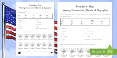 Presidents' Day Missing Consonants (Blends and Digraphs) Activity Sheet