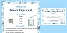 Sticky Ice Science Experiment