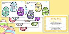 Easter Egg Number Matching Busy Bag Prompt Card and Resource Pack