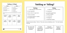 Tattling or Telling Activity Sheet