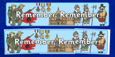 Remember, Remember, Remembrance Day, Gun Powder Plot Themed Display Banner November Topics