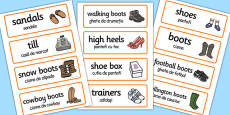 Shoe Shop Role-Play Word Cards Romanian Translation