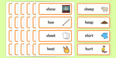 'sh' and 'h' Minimal Pair Word Cards