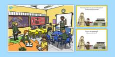 School Scene and Question Cards Polish Translation
