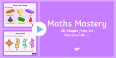 Year 5 Geometry Shape 3D Shape from a 2D Representation Maths Mastery Activities PowerPoint
