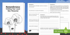 Remembrance   Visiting Your Local War Memorial Activity Sheet