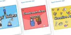 Space Themed Editable Square Classroom Area Signs (Colourful)