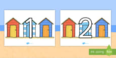 Numbers 0-100 on Beach Huts