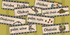 Kingdom of Benin: Yoruba Creation Story Word Cards