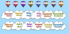 Editable Hot Air Balloon Birthday Display Spanish Translation