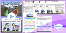 PlanIt - Year 3 French - Time Lesson Pack 6: Yesterday, Today, Tomorrow