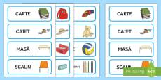 * NEW * Obiecte din mediul familiar al copiilor Cartonașe pentru sortare