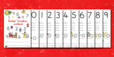 Australia Sunny Christmas Number Formation Workbook
