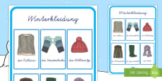 Winterkleidung Wortschatz Poster für die Klassenraumgestaltung