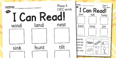 I Can Read! Phase 4 CVCC Words Activity Sheet