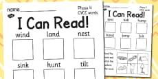 I Can Read! Phase 4 CVCC Words Activity Sheet