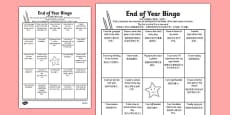 Last Day of School Bingo Activity Sheet Mandarin Chinese Translation