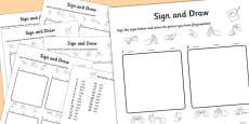 British Sign Language Left Handed Alphabet Sign and Draw Worksheet