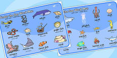 Under the Sea Word Mat Arabic Translation