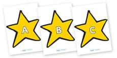 A-Z Alphabet on Stars (Plain)