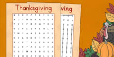 Thanksgiving Wordsearch USA