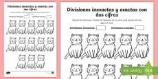 * NEW * Ficha de actividad: Colorear por divisiones inexactas y exactas con dos cifras - gatos