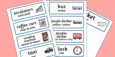 Bus Station Role Play Word Cards Romanian Translation