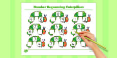 Australia - Number Sequencing Caterpillars to Support Teaching on The Very Hungry Caterpillar