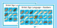 Large British Sign Language Numbers Posters