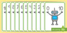 * NEW * Pósters DIN A4: Enlaces numéricos hasta 10 - Robots