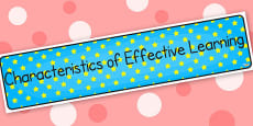 Characteristic of Effective Learning Display Banner