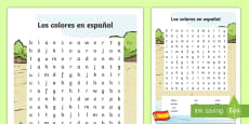 * NEW * Spanish Colors Word Search